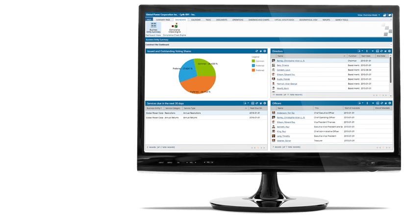 Legal Corporate Services Software System - GlobalAct  - Client Dashboard